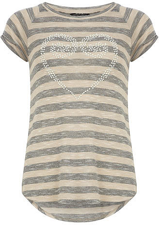 Stone stripe heart tee