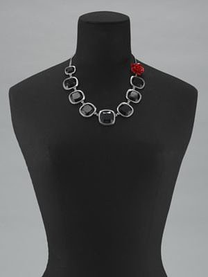 Faceted Black Rectangle & Red Rose Necklace
