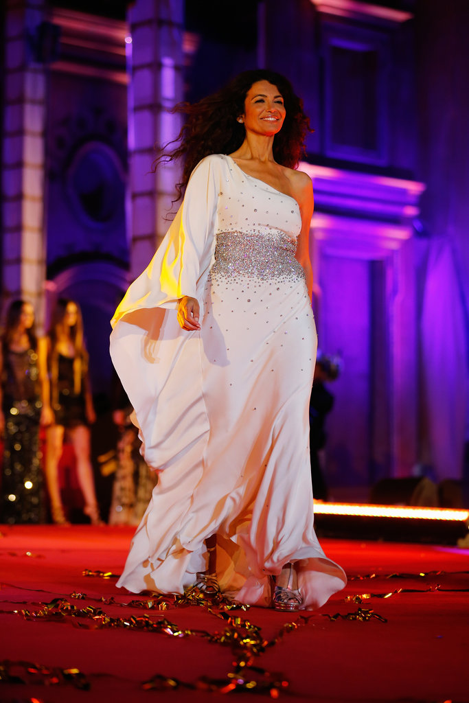Afef Jnifen wore Roberto Cavalli on the runway at the 2013 Life Ball in Vienna, Austria.