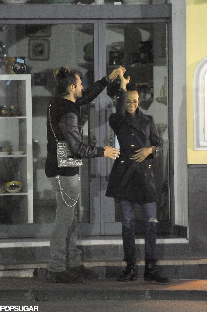 Zoe Saldana and Marco Perego danced in the streets.