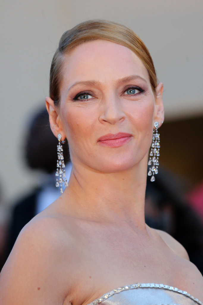 Uma Thurman wore Swarovski crystal earrings.