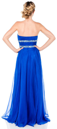 Strapless Long Formal Dress with Beaded Waist