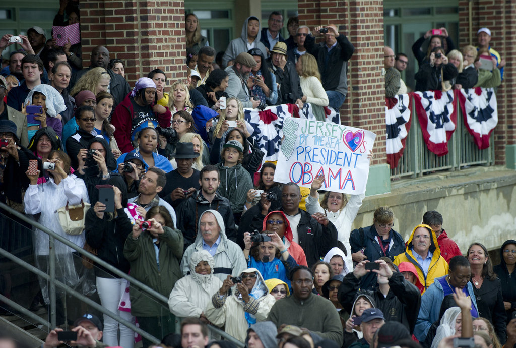 People gathered to hear President Obama speak at the Jersey Shore.