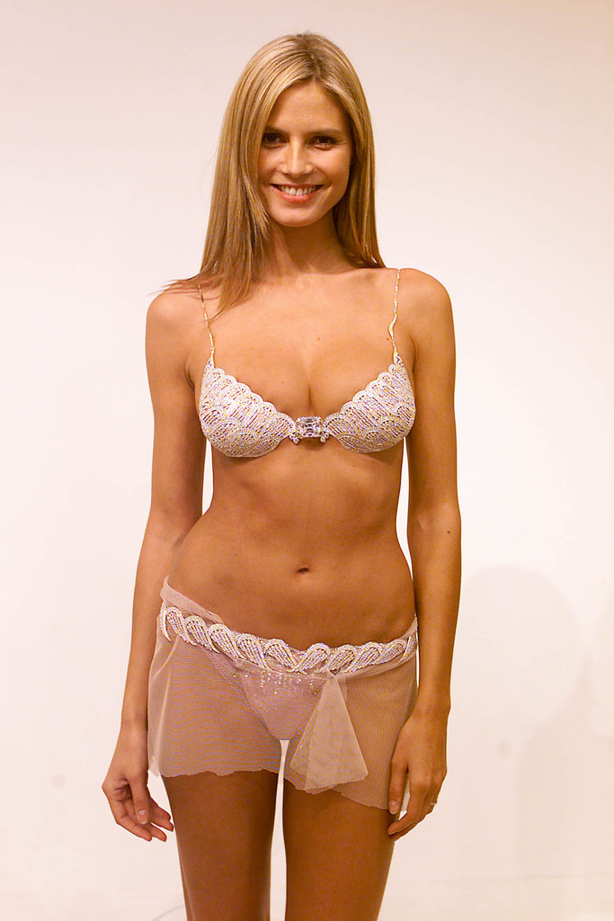 In November 2001, Heidi Klum modeled lingerie ahead of a Victoria's Secret show.