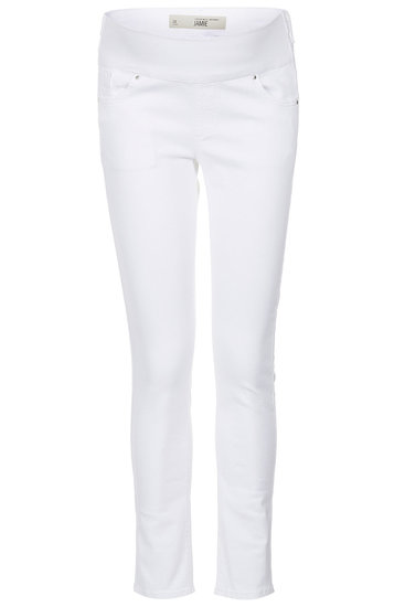 Proving that there's no need to sacrifice style just because you've got a baby on board, Topshop's moto white jeans ($30, originally $80) are sure to become a Fall maternity wardrobe staple — especially when worn with a just-as-cool black moto jacket.