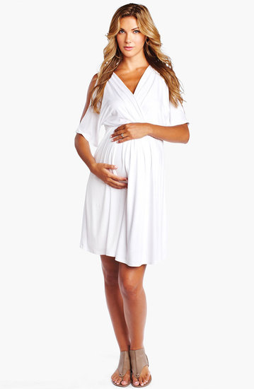 Pair Maternal America's split-sleeve dress ($148) with a jean jacket for a classic combo that never goes out of style. Bonus: the dress is made for easy nursing access postbaby.