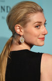 Elizabeth Debicki mussed her roots for a more round shape on her low ponytail at the Great Gatsby premiere.