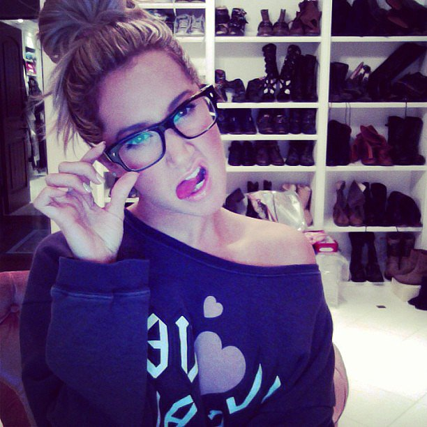"Ashley Tisdale showed off her new glasses and said that she felt ""smarter already."" Source: Instagram user ashleytis"