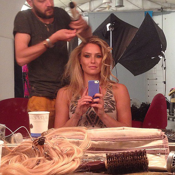 Bar Refaeli snapped a selfie while sitting in the hair and makeup chair. Source: Instagram user barrefaeli