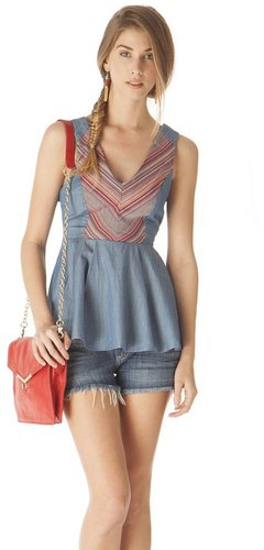Pink Mascara Denim Peplum Top