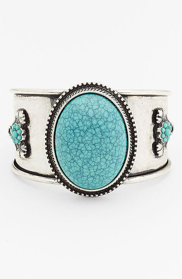 Channel a little Southwest-feeling cool with this BP Vintage faux turquoise cuff (