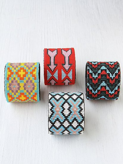 These Free People beaded design cuffs ($28) would look amazing with a