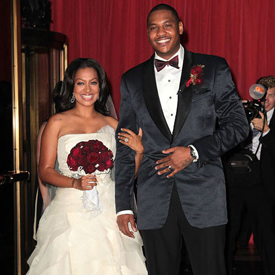 La La Vazquez married New York Knicks player Carmelo Anthony in a strapless ivory-hued gown by Vera Wang.