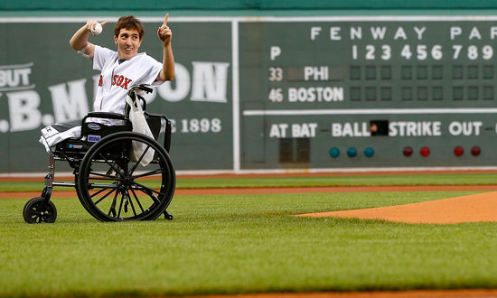 Boston Marathon Survivor Throws a Strike at Fenway