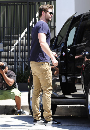 Liam Hemsworth got into his car in LA on Wednesday.