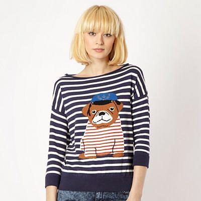 Dark blue striped pug jumper