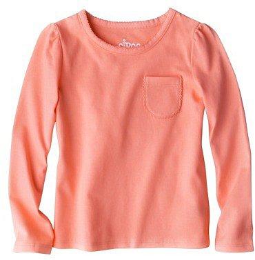 Circo® Infant Toddler Girls' Long-sleeve Pocket Tee - Orange