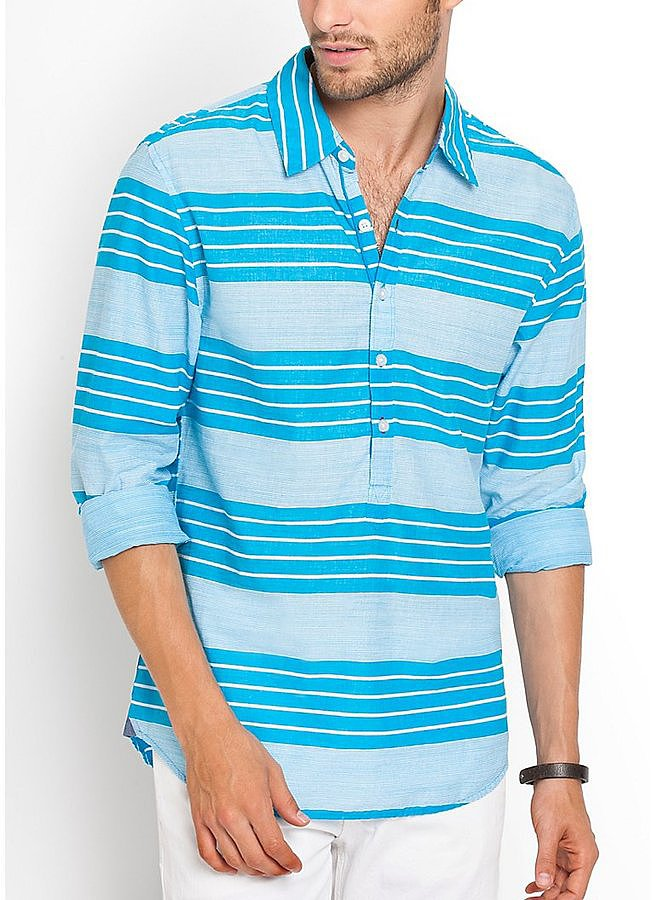 When the mercury rises, who has the time or patience to deal with buttons? This Summer I'm investing in popover shirts like Guess's Rey Striped Shirt ($59) because they offer the ease of polo shirts while still looking as cool as my beloved button-downs. — JF
