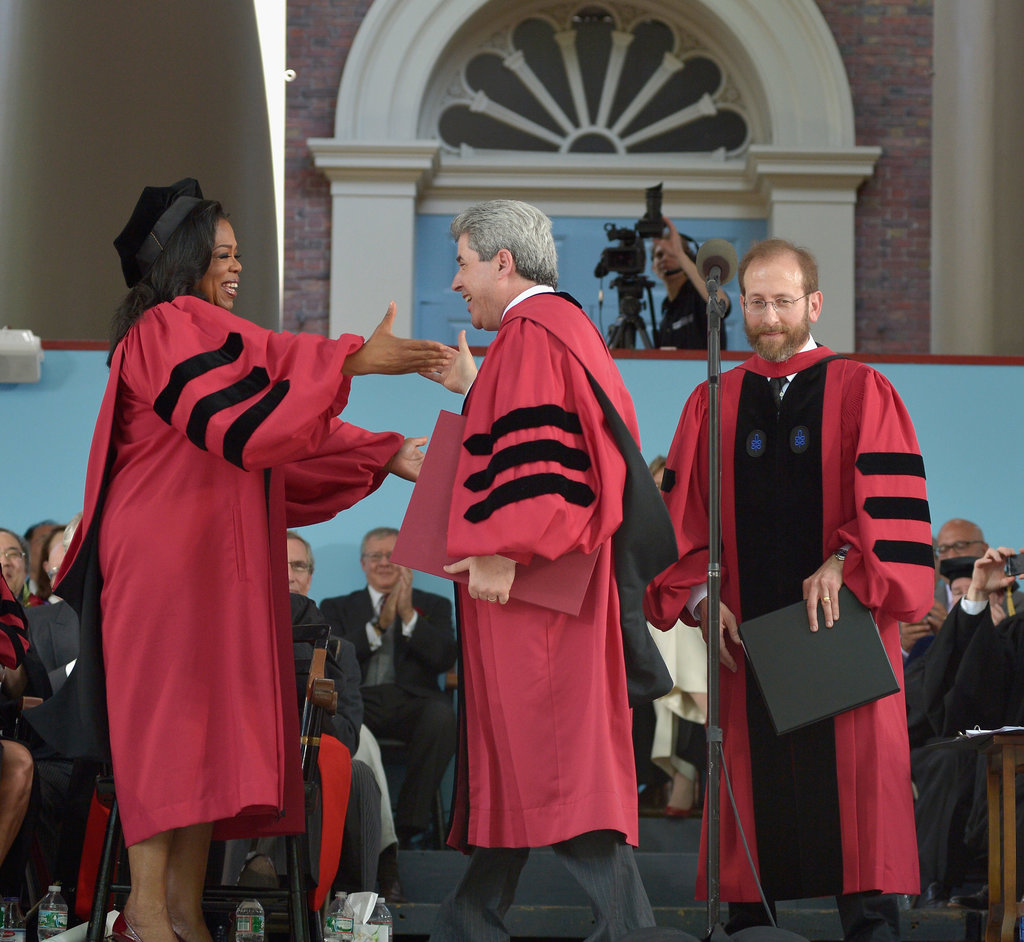Oprah received an honorary Doctor of Laws degree from Harvard University this morning.