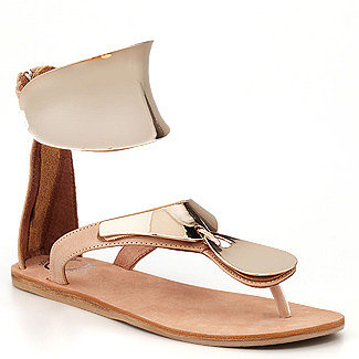 Jeffrey Campbell - Congo - Flat Sandal in Gold Metal and Beige