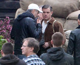 George Clooney and Matt Damon chatted on set in Buckinghamshire, England.