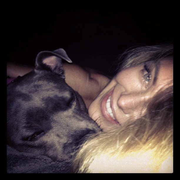 Jennifer Hawkins enjoyed a lazy night in with her dog. Source: Instagram user jenhawkins_