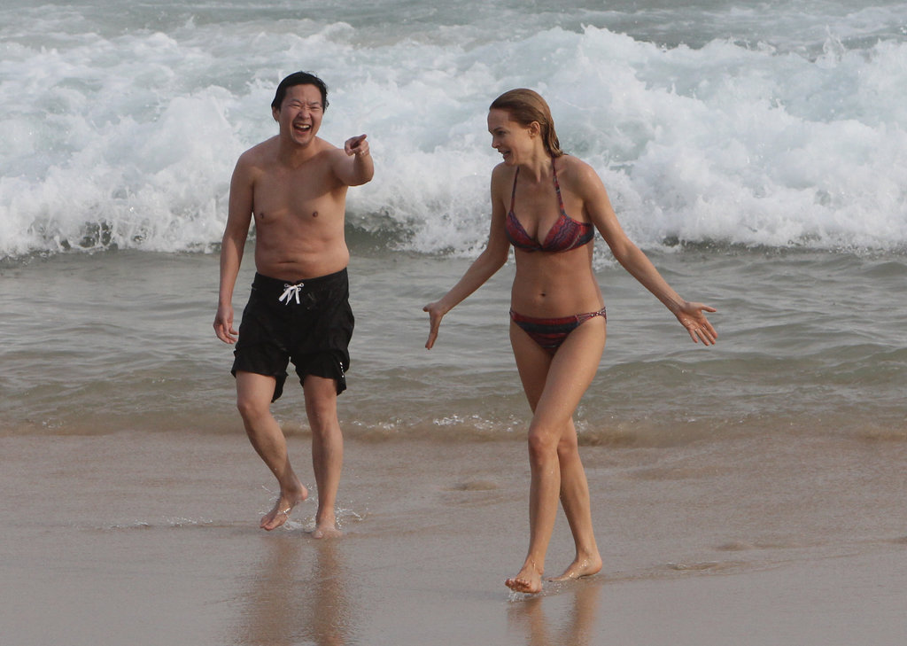 Hangover Part III stars Ken Jeong and Heather Graham took some time out from promo work to frolic on Ipanema Beach in Brazil on May 28.