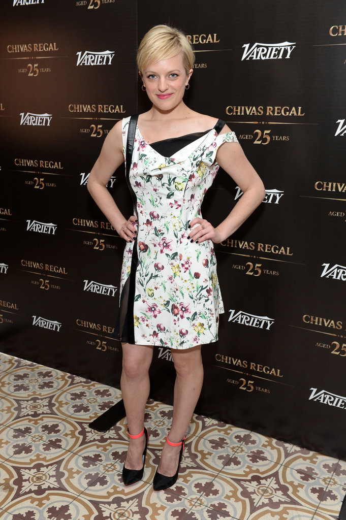 Elisabeth Moss wore a floral frock.