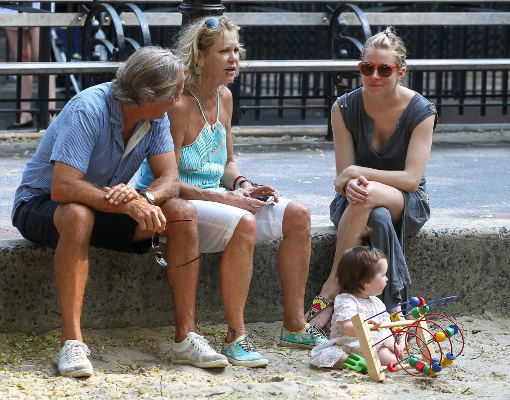 Sienna Miller took her daughter, Marlowe, to an NYC park with her father, Edwin, and his wife.