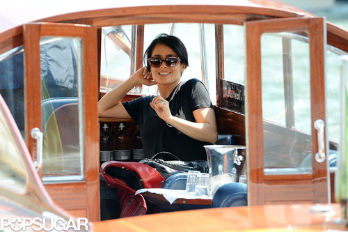 Salma Hayek headed to the Venice Biennale by boat during a May trip to Italy.