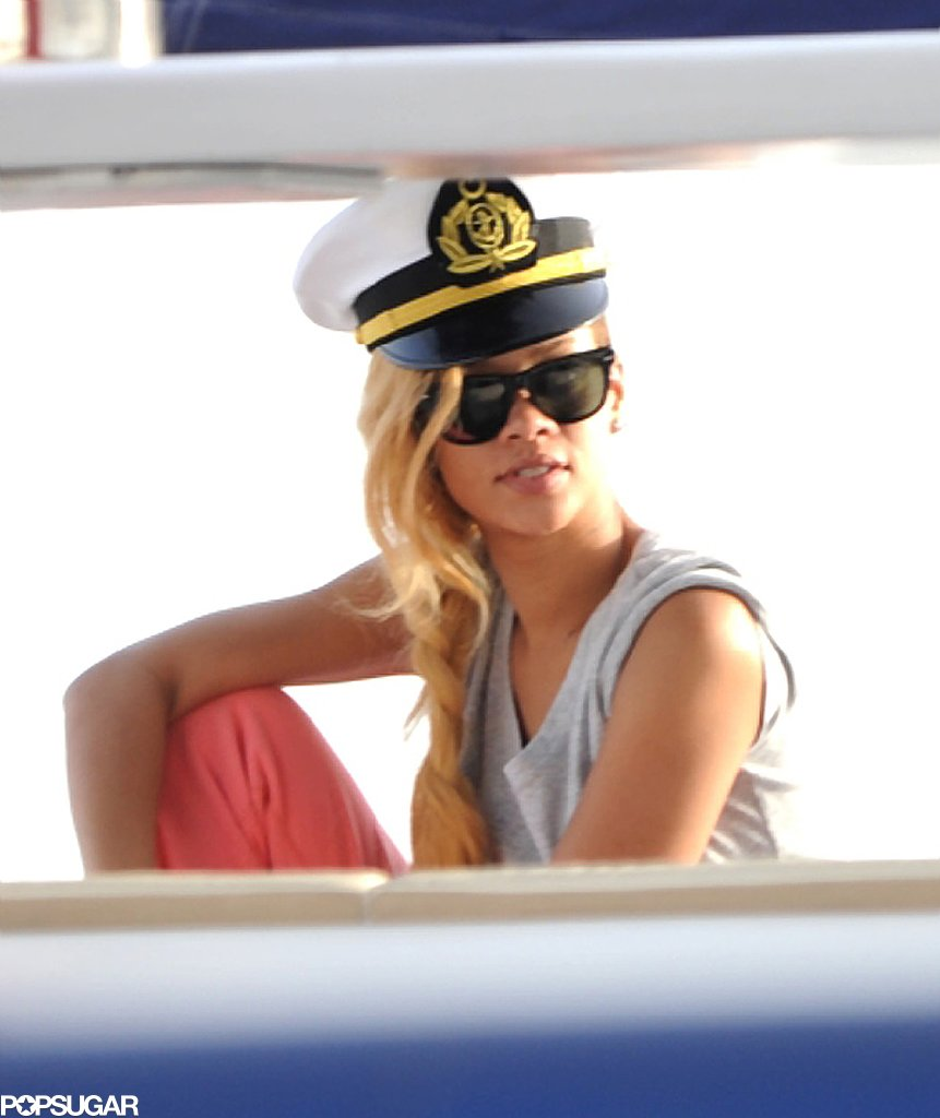 Rihanna wore a captain's hat while relaxing with friends on a yacht in Turkey in May.