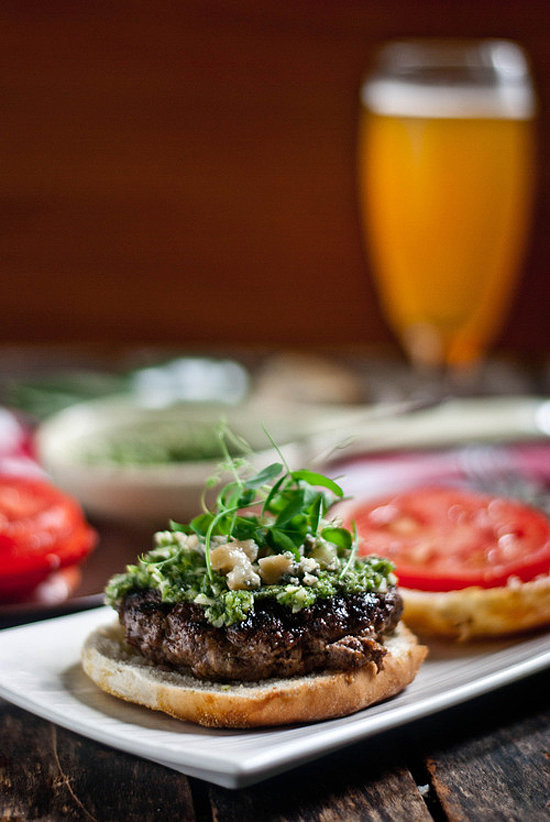 Bison-Apple Burgers with Smoked Blue Cheese