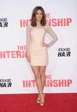 In a pretty peach minidress with sheer sleeves and matching satin Ferragamo pumps, Rose Byrne was a vision at the premiere of The Internship.