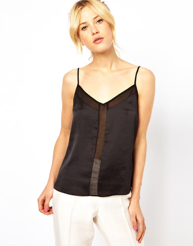 ASOS Cami With Skinny Straps And Mesh Panel