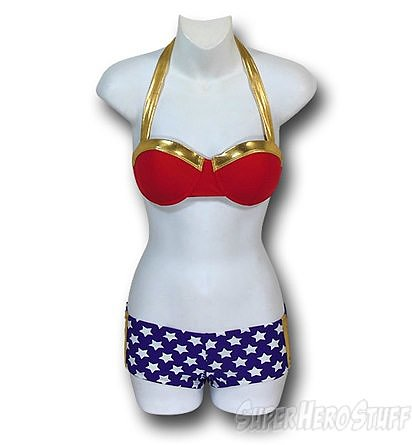 The Wonder Woman Bandeau Bikini Set ($43) has retro style.