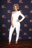 After her performance, Rita Ora rocked a white one-shouldered jumpsuit like a pro.