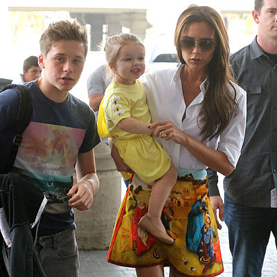 Victoria Beckham and Kids Fly Out of LAX | Pictures