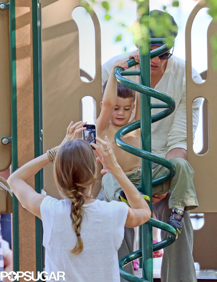 Benjamin Brady was snapped playing on a Boston jungle gym with his parents, Gisele Bündchen and Tom Brady.