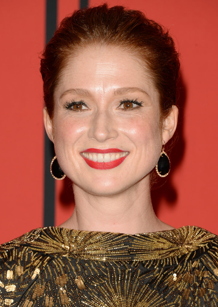 Actress Ellie Kemper chose a red-orange lipstick look to complement her auburn strands at the 2013 CFDA Fashion Awards.