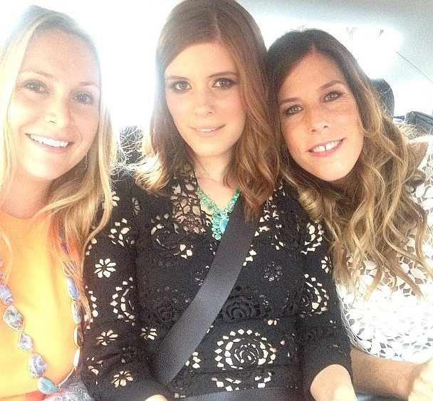 Irene Neuwirth cozied up next to Kate Mara in the car on the way to the red carpet.  Source: Instagram user ireneneuwirth