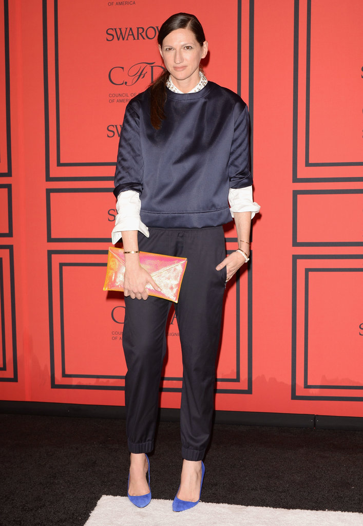 Jenna Lyons was tomboy chic in a silky navy top and black trousers.