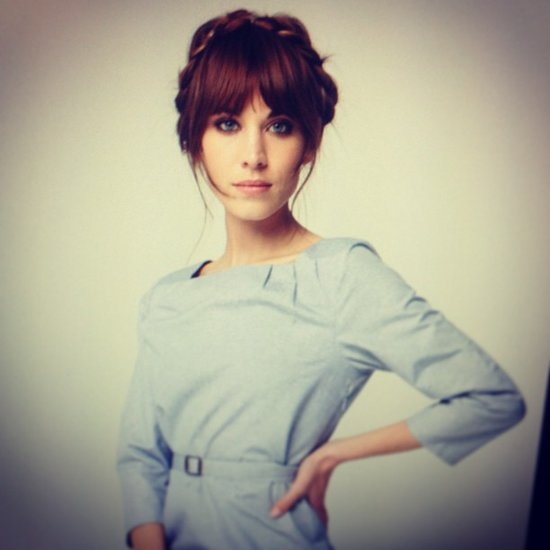Alexa fresh-faced, with a braided up 'do on the set of the L'Oréal Inoa shoot.