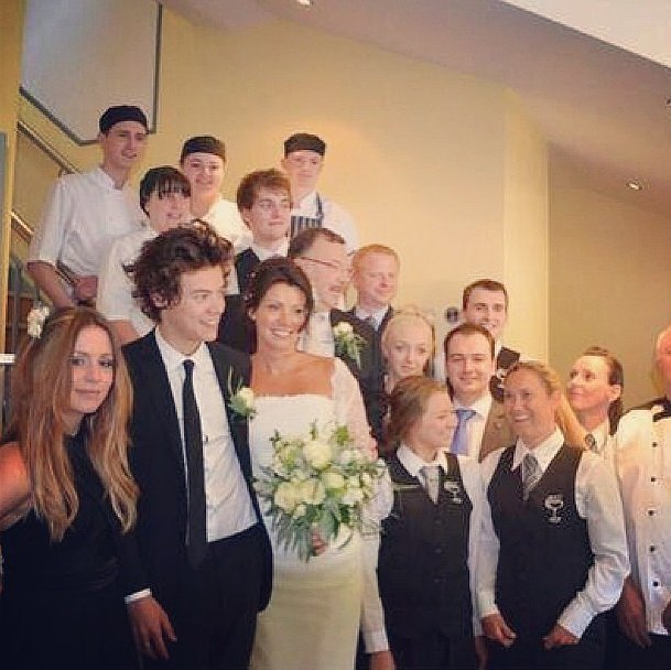 Harry Styles served as best man at his mom's wedding in England. Source: Instagram user gemmastagram