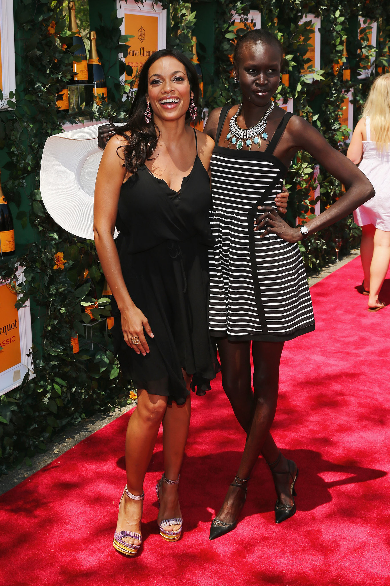 Rosario Dawson and Alek Wek at the sixth annual Veuve