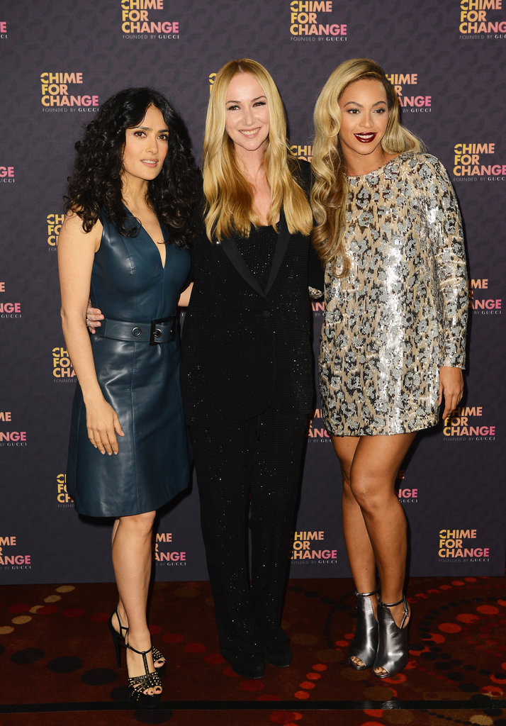 Salma Hayek, Frida Giannini, and Beyoncé Knowles at the Chime For Change: The Sound of Change Live concert, presented by Gucci, in London.