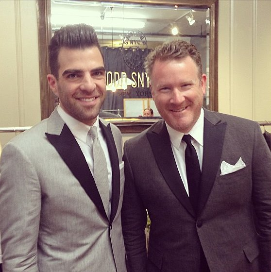 CFDA Swarovski nominee Todd Snyder showed off his dapper duds with Zachary Quinto.  Source: Instagram user ToddSnyder