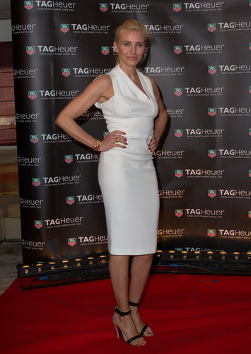 Cameron Diaz was impeccably chic in a white knee-length dress and black ankle-strap sandals at the Monaco Grand Prix party in Monaco.