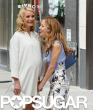 Cameron Diaz and Leslie Mann laughed on the set of The Other Woman on Tuesday in NYC.