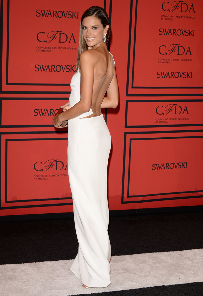 Alessandra Ambrosio looked classy in this sheer-backed white sheath.