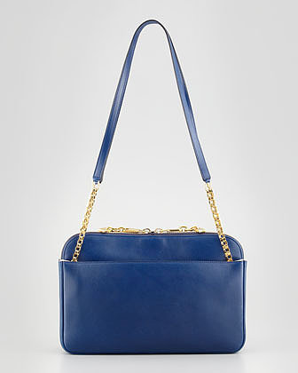 Chloe Lucy Medium Leather Shoulder Bag, Navy
